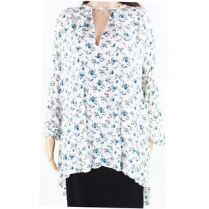 Wayf | White Blue Floral Keyhole Front Tunic Top S